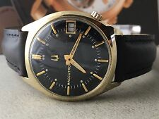 Vintage Bulova Accutron 18K Gold Plated Bezel Caliber 218 Men's Dress Watch