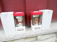 SET of 2 NRFB 2002 Campbell Kids Bobble Head Doll - BOY and GIRL (S14)