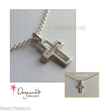 "Dogeared FAITH Necklace Sterling Silver Cut Out Modern Cross charm 16"" chain NEW"