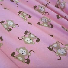 Stoff Meterware Baumwolle Jersey Affen rosa beige  Kinderstoff  NEU !!