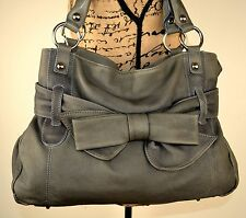 Large LLOYD BAKER Thick Olive Grey Distressed Leather Slouch Tote Shoulder Bag