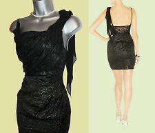 Karen Millen Metallic Jacquard Metallic Black Lace Chiffon Drape Dress sz-10 38