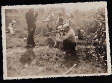 Old Antique Photograph Navy Men & Children Shooting Rifles in the Woods