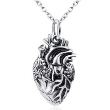 Vintage 925 Sterling Silver Anatomical Human Heart Necklace Surgeon Pendant 18""