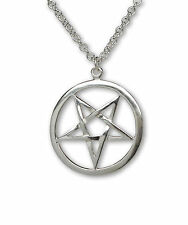 Sterling Silver Pentacle Pentagram Pendant with 20 Inch Necklace SSNKCHAIN-538-I