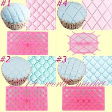 Hot! 4 Sets Quilting Embosser Mold Cake Fondant Cutter Decorating Mould Tools wm