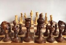 "Large 14x14"" Chess Set Storage Slots Handcarved Wooden Pawns Board Games"