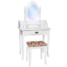Coiffeuse blanche tabouret Table de maquillage avec miroir Commode coiffeur