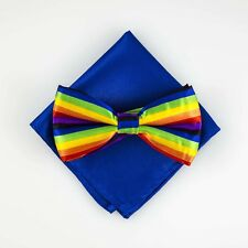 Rainbow Stripe Bowtie Pocket Square Fashion Novelty Mens Adjustable Tie BPK135