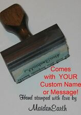 Hand Stamped W/ Love Rubber Stamp With Your Custom Name