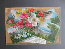 ANTIQUE New Year Greetings Card Switzerland Swiss Scenes Wishes Absent Friend