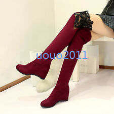 womens strech faux suede lace trim wedge heel shoes over the knee thigh boots