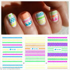 Nail Art Water Decals Nail Stickers Transfers Neon Lace Stars Lips Bows Flowers