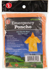 New Set of 1 Emergency Rain Poncho Orange Hood Reusable One Size Fits Most