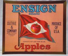 Vintage Fruit Crate label -- Ensign Brand Apples -- Duthie & Co Portland, OR