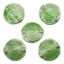 Enamelled Hypnotic Swirl Green Round Metal Bead 26mm Pack of 5 (E86/6)