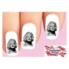 Waterslide Nail Decals Set of 20 - Marilyn Monroe Black & White with Red Lips