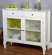Vintage Buffet Cabinet White Antique Kitchen Storage Shelves Drawers Glass Doors