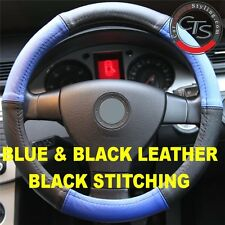 VW BEETLE BORA JETTA CADDY UP EOS STEERING WHEEL COVER BLUE & BLACK SOFT LEATHER