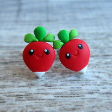 Girls Spring Easter Radish Mini Miniature Vegetarian Vegan Food Earrings Jewelry