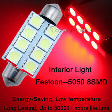 10X Red 8-SMD LED Map Dome Interior Lights Bulbs 42MM Festoon 578 211 212 5050