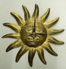 "14"" METAL SUN CLOCK - BRUSHED ANTIQUE BRASS  FINISH"