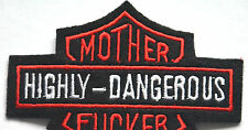 DANGEROUS HARLEY BIKER EMBROIDERED APPLIQUE BADGE MORALE PATCH SEW IRON ON