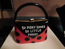 """Bank Purse Shaped Piggy Red w/ Black Polka Dots """"So Many Shoes, so little Money"""""""