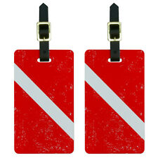 Diving Flag Distressed - Scuba Diver Dive Luggage Suitcase ID Tags Set of 2