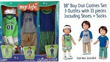 "18"" Doll SCHOOL BOY 11pc CLOTHING SET My Life As 18"" American Girl Boyfriend Lot"