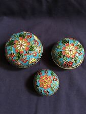 Chinese Brass Enamel Cloisonné Floral 3 Round Nesting Boxes Trinkets
