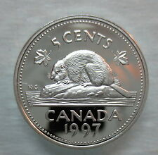 1997 CANADA 5 CENTS PROOF SILVER NICKEL COIN - A