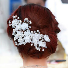 1pc Handmade Silver flower Pearl Crystal Bridal Hair Wedding Accessory Pin D2083
