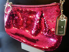 BRAND NEW limited edition COACH poppy SEQUIN POUCH EVENING HANDBAG MAGENTA /PINK