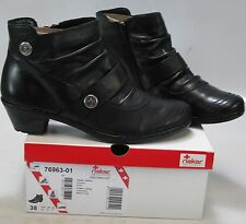 RIEKER Women's LYNN 76963 Black Leather/Fleece Lining Ankle Boot US 7-7.5, EU 38