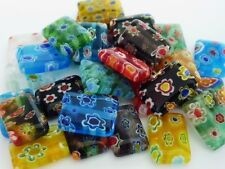 30 pce Rectangle Millefiori Glass Spacer Beads 14mm x 10mm
