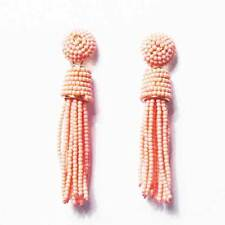 DAZZLING PINK BEADED TASSEL STATEMENT EARRINGS