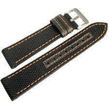 20mm Hadley-Roma MS848 Mens Black Nylon Leather Orange Stitch Watch Band Strap