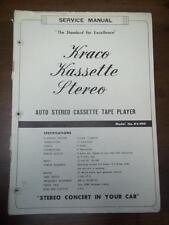 Kraco Kassette Service Manual~KS-999 Car Stereo Cassette Tape Player