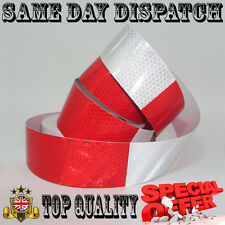 REFLECTIVE TAPE 50mm / 5m RED WHITE Honeycombs TRUCK TRAILER CHASSIS CARAVAN