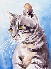 """""""Tigerchen"""", Katze, Cat, Chat, Gato, Original Aquarell 24x32, Studio-Milamas"""