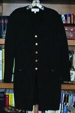 ST. JOHN Black Knit Long Cardigan Coat V Neck Gold Buttons Size 12
