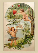 REPRINT PICTURE of old postcard VALENTINE FORGET ME NOT 2 CUPIDS in tree 5x7