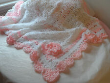 BLANKET.AFGHAN. BABY. GIRLS. CROCHET.WHITE. PINK.SHOWER GIFT.POUND OF LOVE.