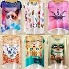 Summer Women Ladies Loose Casual Short Sleeve Kitty Print Bat Blouse T-Shirt Top