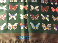 Womens Ladies Gucci vintage scarf silk butterfly green beautiful