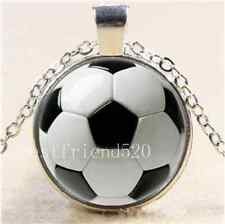 Soccer Ball Photo Cabochon Glass Tibet Silver Chain Pendant Necklace