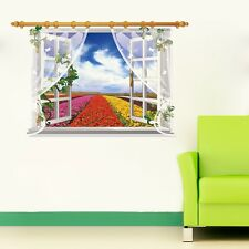 3D Window View Colorful Flowers Wall Stickers,Wall Decals SK_FUYU_B