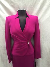 TAHARI BY ARTHUR SKIRT SUIT  /NEW WITH TAG/RETAIL $240/MAGENTA/SIZE 4/LINED/