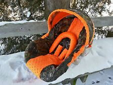 Camo Infant Car Seat Cover, Mossy Oak fabric and Orange Minky
